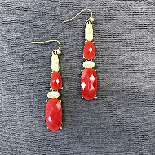(Trendy Gold Hammered Red Stone Rectangular Shape Boho Style Drop Dangle Earrings Fashion Jewelry for Women Man)