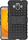 Jkobi Protective Rugged Hybrid Dual Armor Kick Stand Back Case Cover For Samsung Galaxy J7 Duo -Black