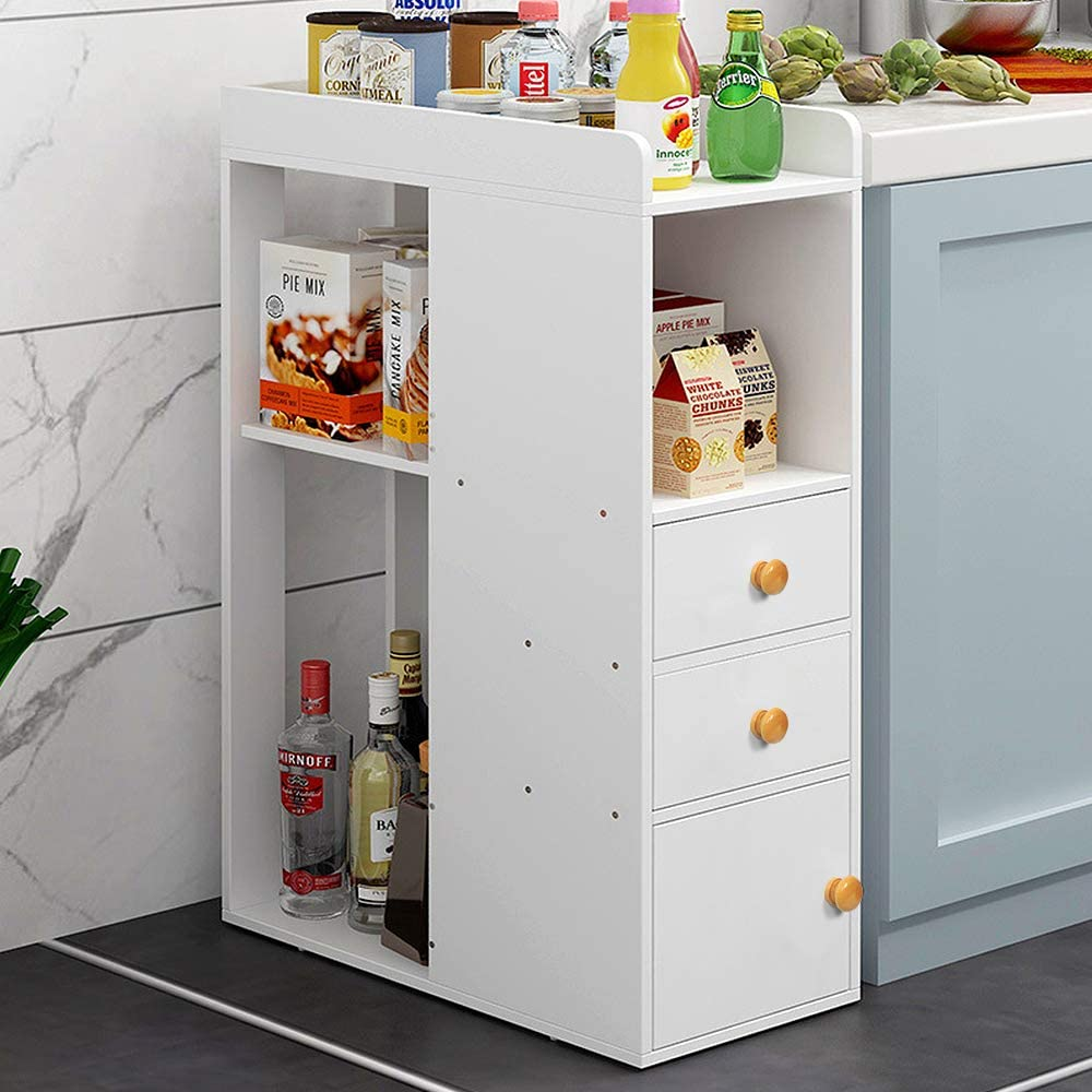 Redd Royal 3 Tier Kitchen Floor Cabinet For Small Space White Cupboard Pantry Shelf Storage Stand Unit With 2 Drawers 1 Door Free Standing Amazon Co Uk Home Kitchen