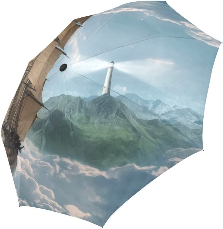 Design With Lighthouse Pattern Windproof Rainproof Automatic Foldable Umbrella,Travel Umbrella Compact Sun//Rain Hot-selling