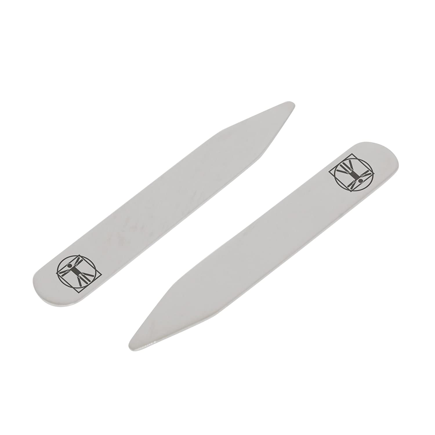 2.5 Inch Metal Collar Stiffeners Made In USA MODERN GOODS SHOP Stainless Steel Collar Stays With Laser Engraved Vitruvian Man Design