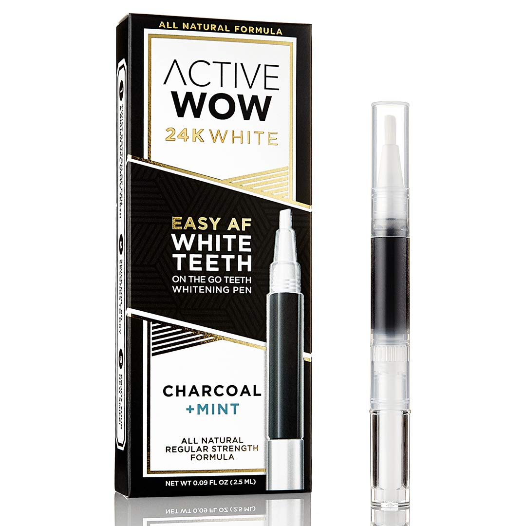 Active Wow 24K White Easy AF Charcoal Teeth Whitening Pen with Mint Oil - Organic Charcoal On The Go Whitening - For Sensitive Teeth and Gums