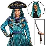 BirthdayExpress Uma Costume Descendants 2 Disney Girls Deluxe Isle with Wig and Sword Kit - 10 12