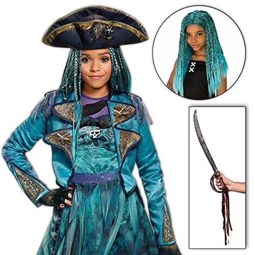 Uma Costume Descendants 2 Disney Girls Deluxe Isle with Wig and Sword Kit - (Maleficent Costume Makeup Kids)