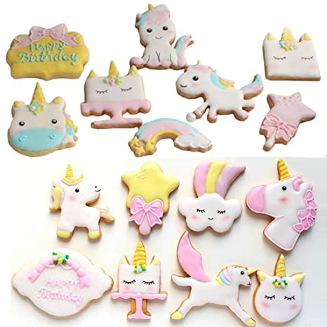 GaLon Molde de pastel para hornear Lindo Unicornio Molde de plástico Galleta navideña Herramienta de molde