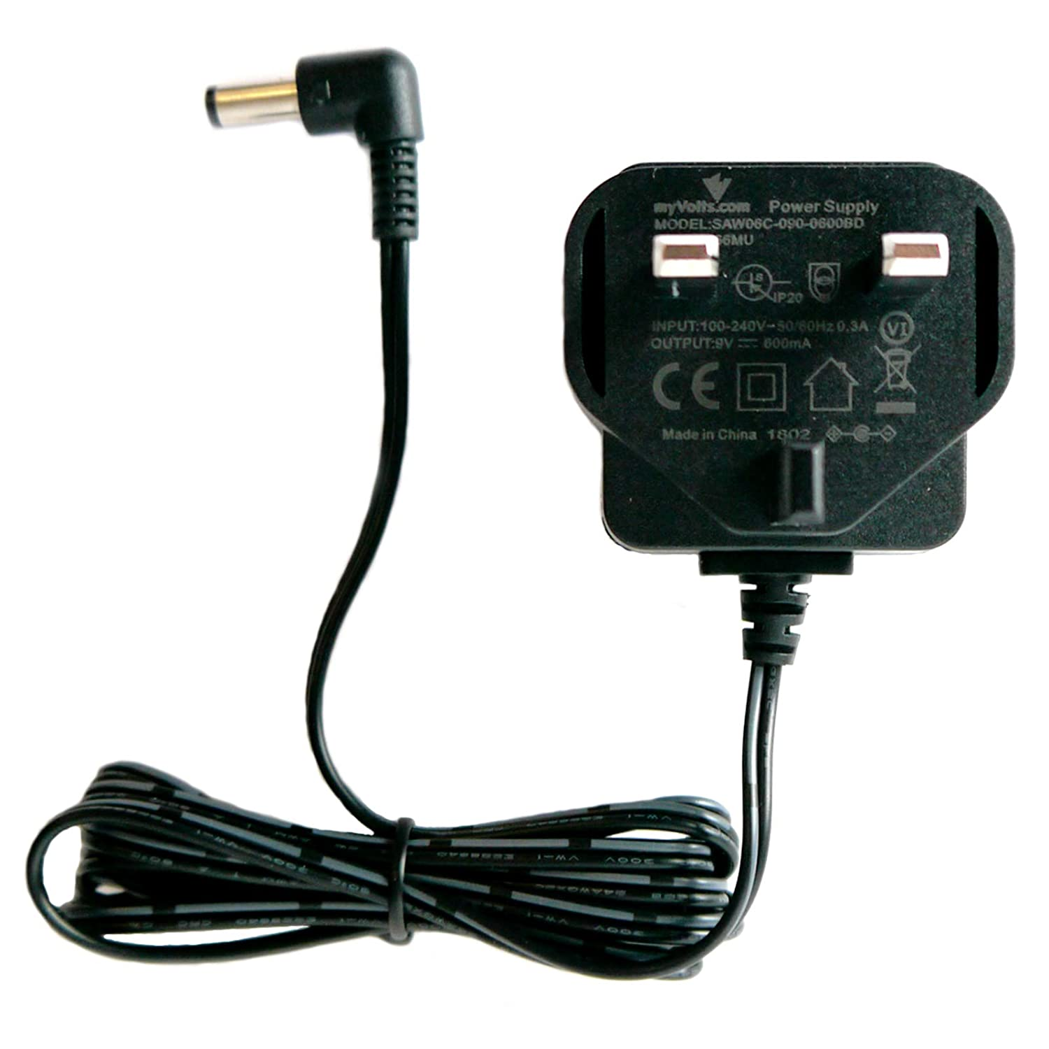 MyVolts 9V power supply adaptor compatible with Valeton Darktale Effect pedal - UK plug UK-27252