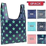 Jasinber Set de 6 Bolsas plegables reutilizables, Bolso de compras ecológico, Tote Bag plegable en el bolsillo (6-Pack)