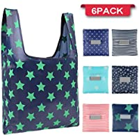 Jasinber Set de 6 Bolsas plegables reutilizables, Bolso de compras ecológico, Tote Bag plegable en el bolsillo