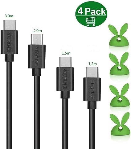 cable de carga USB-C, Adaptador Tipo C Pack de 4 conversores USB-C ...