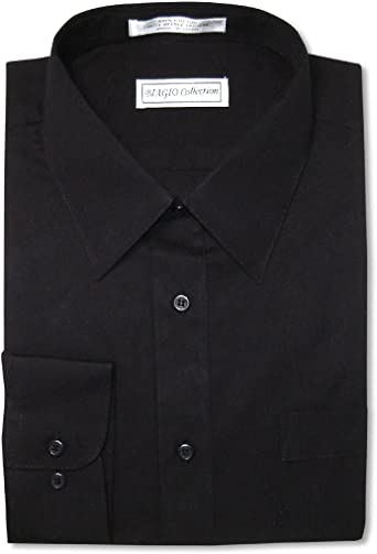 Biagio Men's 100% Cotton Solid Black Color Dress Shirt w/Convertible Cuffs