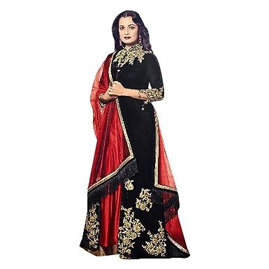 33cede87404 Schwarz Stitched Designer bollywood indien Straight salwar kameez with  Plazo kaftaan jupe longue avec une veste