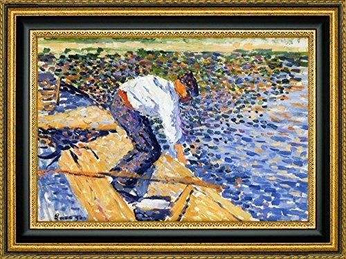 """Le Pecheur de Vers de Vase by Maximilien Luce - 13"""" x 19"""" Framed Giclee Canvas Art Print - Ready to Hang"""