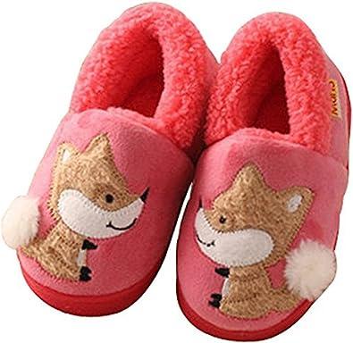 D.S.mor Kid's Fox Plush Warm Slippers