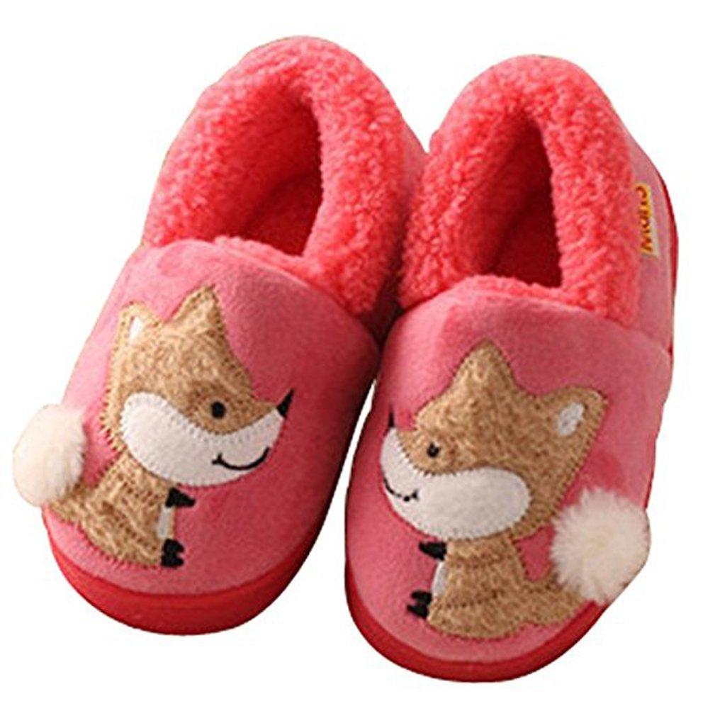 D.S.mor Kid's Fox Plush Warm Slippers Bedroom Slippers Children's Slippers (Little Kid 13.5 M, Watermelon Red)