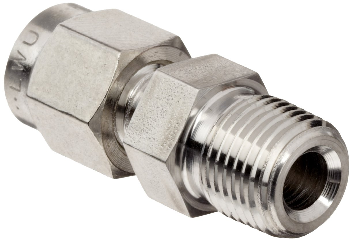 "Parker 2MSC2N-316 316 Stainless Steel A-LOK Male Connector 1/8"" Compression Fitting 1/8"" Male NPT"