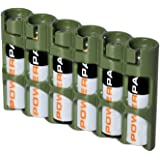 Storacell SLAAAMG by Powerpax SlimLine AAA Battery Caddy, Military Green, Holds 6 Batteries