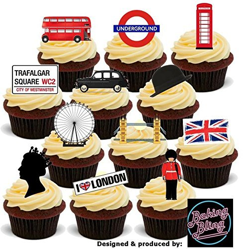 12 x London Union Jack Mix - Fun Novelty Birthday PREMIUM STAND UP Edible Wafer Card Cake Toppers Decorations (Printed Union)
