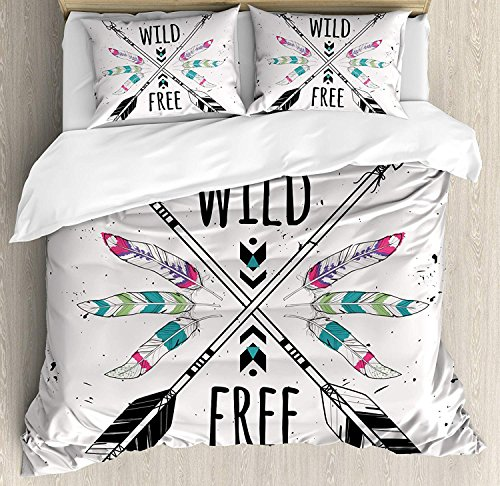 Tribal Duvet Cover Queen, Crossed Ethnic Arrows with Wild and Free Motivation Quote Primitive Illustration, 4 Piece Bedding Comforter Cover Set with 2 Pillow Shams, Black Coconut ()