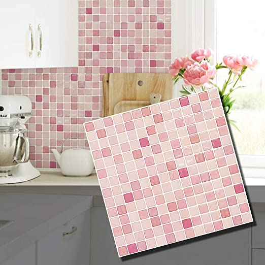 Amazon Com Beaus Tile Decorative Tile Stickers Peel And Stick Backsplash Fire Retardant Tile Sheet Coral Fabric 10 12 2 X 12 2 Home Kitchen
