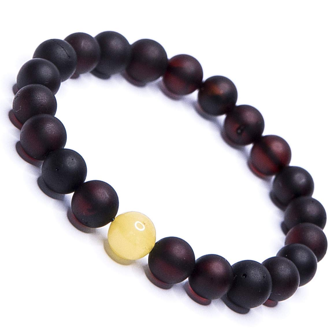 Natural Baltic Amber Bead Stretch Bracelet in a Luxury Gift Box | Men, Women and Children (Unisex) (Dark Cherry with 1 Cream Yellow, XS - for 5,5 inch Wrist) B11