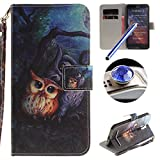 Asus ZenFone 2 ZE551ML(5.5) Wallet Case,Asus ZenFone 2 ZE551ML(5.5) Leather Case with Strap,Etsue Cute Painting Owl Closure Wallet Flip Case Cover with Stand for Asus ZenFone 2 ZE551ML(5.5)+Blue Stylus Pen+Bling Glitter Diamond Dust Plug(Colors Random)-Painting Owl