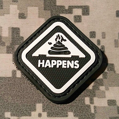NEO Tactical Gear Shit Happens Morale Patch - PVC Rubber Morale Patch, Hook Backed