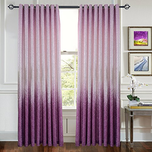 Anady Top Purple Pink Tree Branches Blackout Curtains 2 Panels Grommet Thermal Insulated Lined Drapes Silvery Shiny Curtains for Bedroom 84 Inch Long