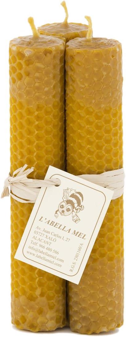 L Abella 100% Cera de Abejas Velas de España – Producto Natural – Directamente Desde el Apicultor – – Aroma de Miel en Mano – 3 Velas con por Aprox. 17 cm x 3 cm: Amazon.es: Juguetes y juegos