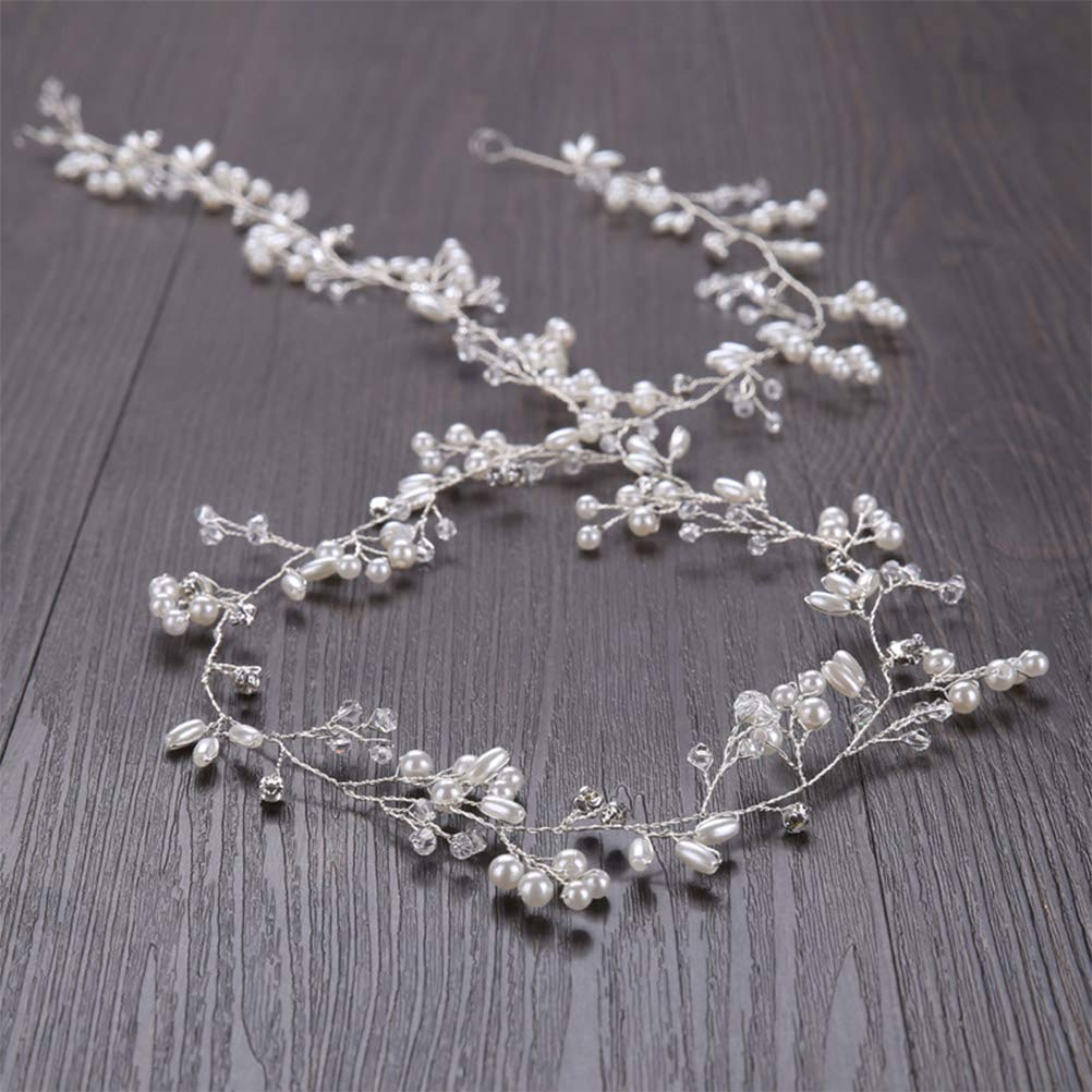WOWOSS 100cm Haardraht Hochzeit Haarschmuck Haardraht Perlen Strass Brautschmuck Braut,Strassbesatz Haarband und Stirnband mit Kristall,Kopfschmuck Kopfabdeckung f/ür Frauen und M/ädchen