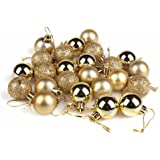 GOOTRADES Set of 24 Mini Shatterproof Christmas Balls Tree Ornaments Party Decoration, 3cm/1.18'' (Gold)