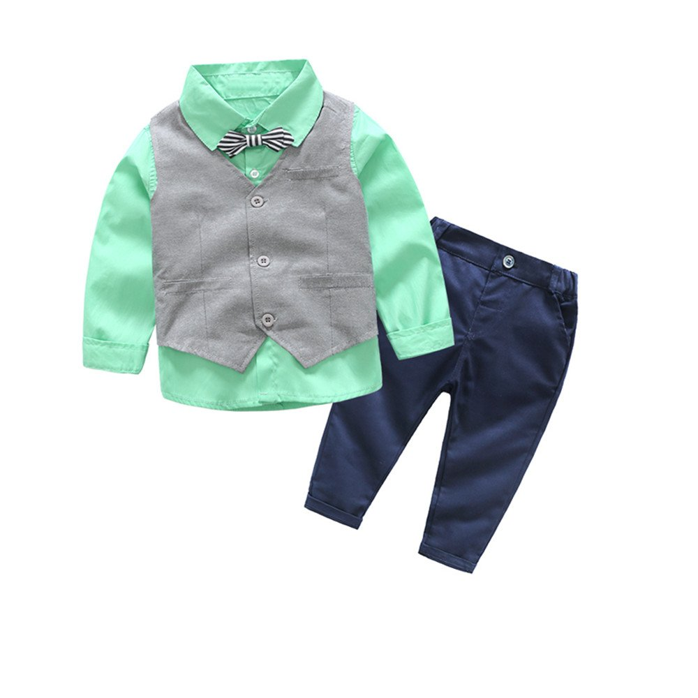 xirubaby Little Boys Dressy Formal Vest Shirt Pant and Bow Tie Set Outfit (140/6T, Green)