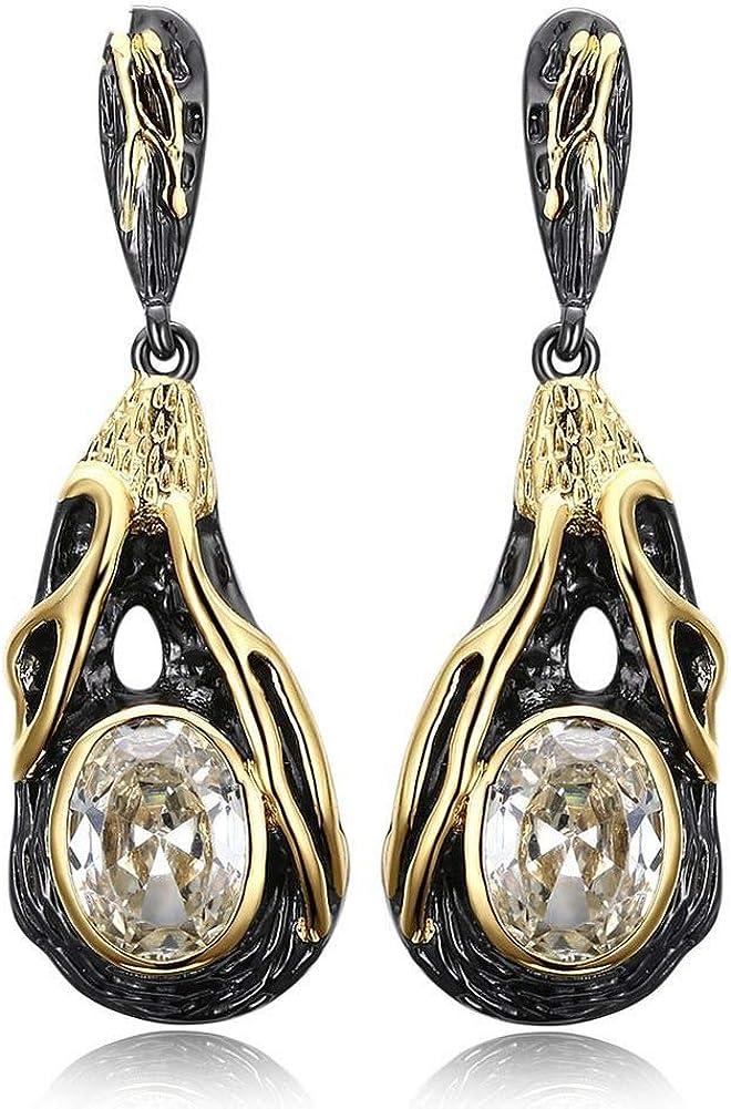 Wbeiba-Ohrringe-Damenohrringe-Kupfer amarillo/Schwarzgold, piedras preciosas artificiales, Tropfenohrringe, Hypoallergen, Damenaccessoires