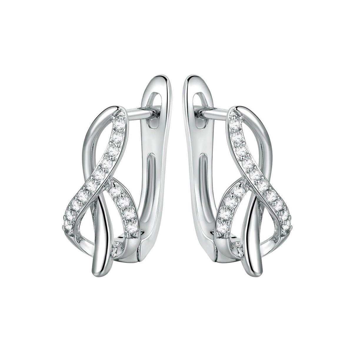 0.20 Ct Round Cut Simulated Diamond Infinity Hoop Earrings 10k White Gold