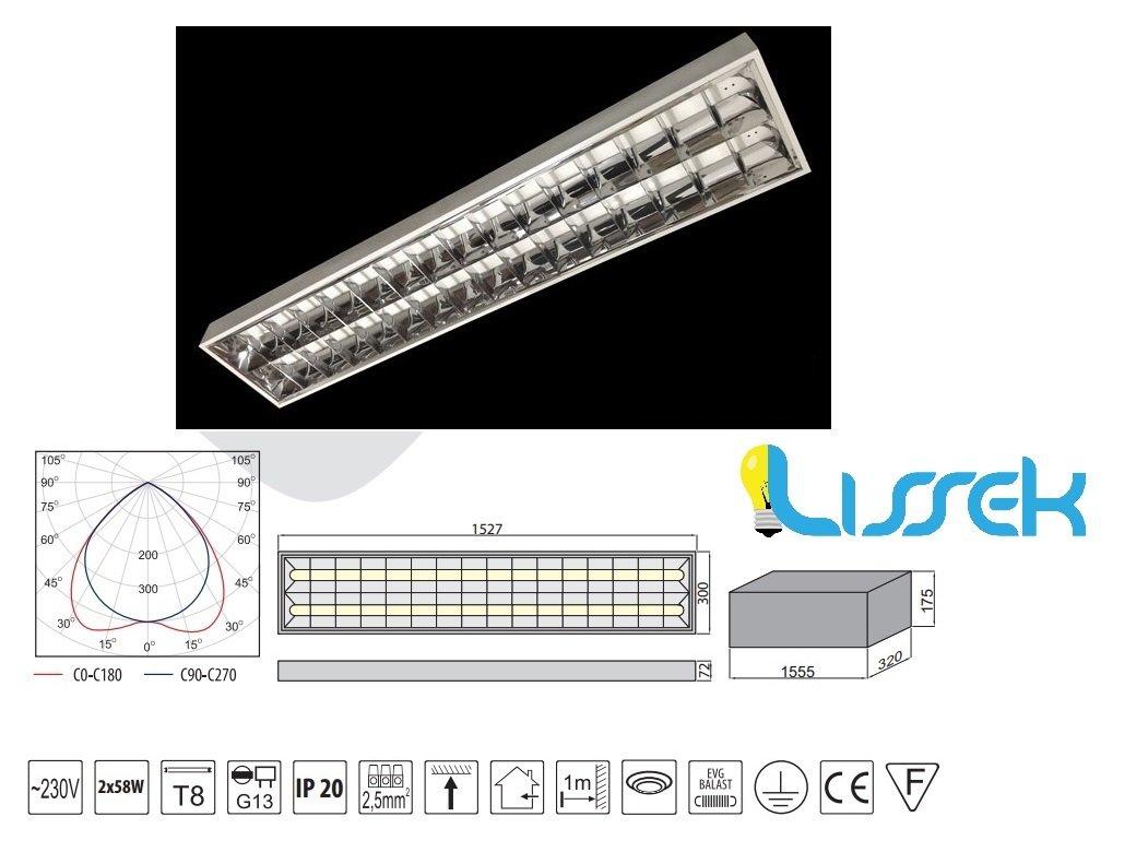 Rasterleuchte Deckenleuchte Bürolampe Aluraster Anbauleuchte 2x58W EVG GTV 865