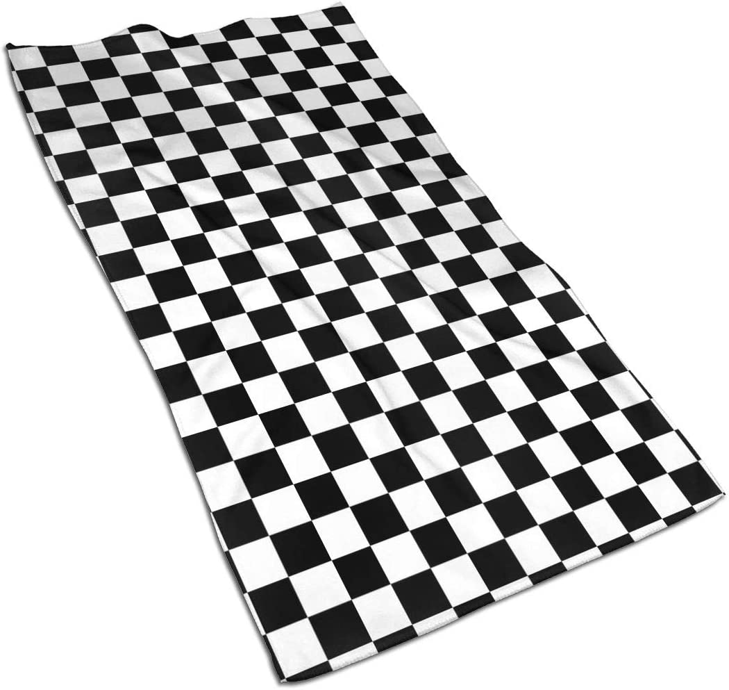 Checkerboard-Black & White Grphic.jpg Kitchen Towels ¨C 17.5X27.5in Microfiber Terry Dish Towels for Drying Dishes and Blotting Spills ¨CDish Towels for Your Kitchen Decor
