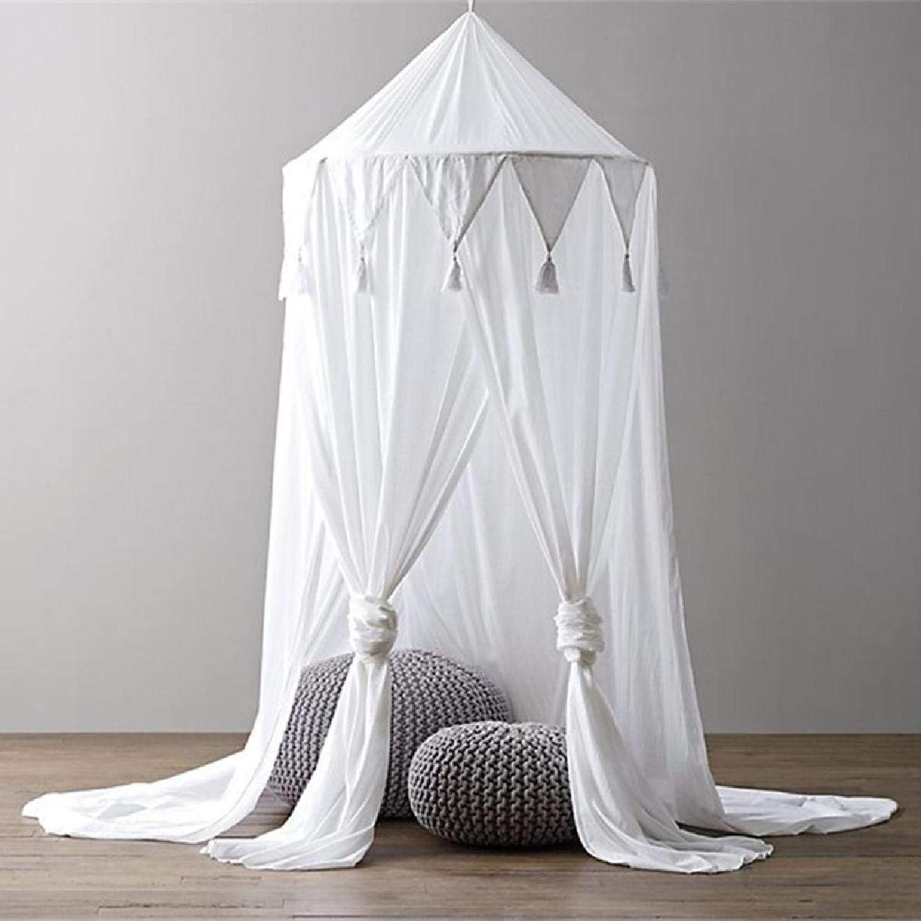 Bed Canopy, Chiffon Reading Nook Tent Dome Triangle Tassel Net with Assembly Tools Bedroom Decoration Indoor Game House for Kids (White)