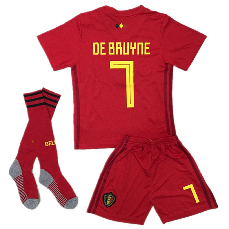 Top BelgiumJS 7 DE Bruyne 2018 Russia World Cup Belgium Home Soccer Jersey Youth/Kids Jersey & Shorts & Socks