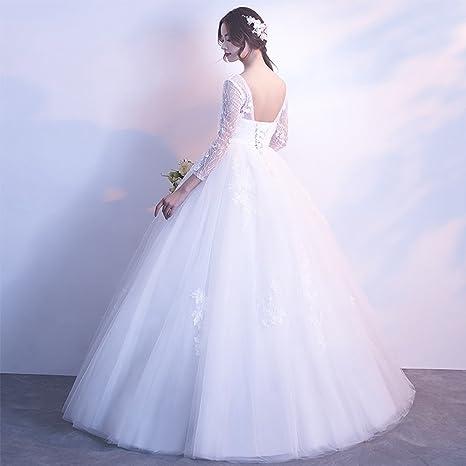 Vestido De Novia Embarazada De Encaje V Cuello De Cintura Alta Manga Larga A-Line Vestido De Novia Tamaño Personalizable,XXXL: Amazon.es: Hogar