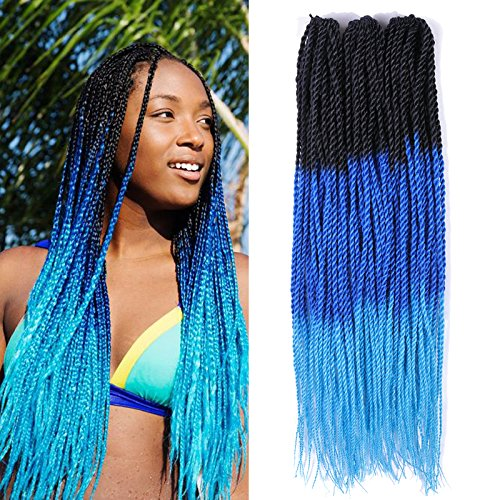 Senegalese Crochet Braids 22inch 3packs/lot Synthetic Mix Ombre Color Twist Braiding Hair Extension 100gram 30strands/pack (1b/blue/green)