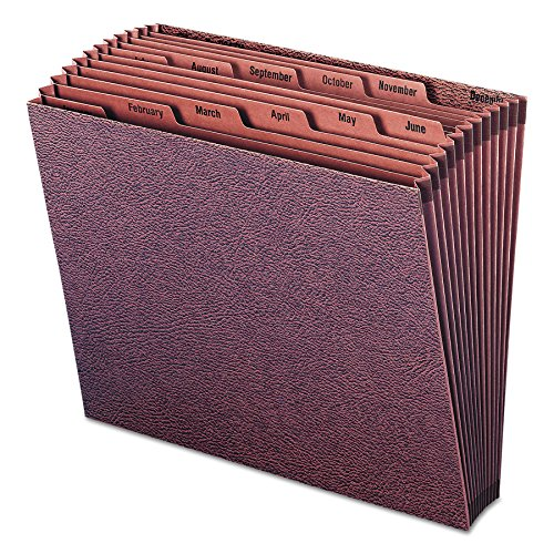 Hanging Accordion Folders Letter - Smead TUFF Expanding File, Monthly (Jan.-Dec.) 12 Pockets, Letter Size, Redrope-Printed Stock (70488)
