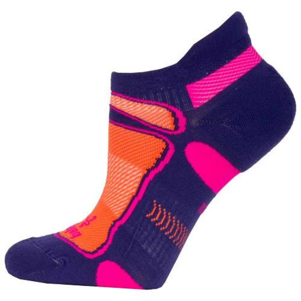 Balega Ultralight No Show Athletic Running Socks for Men and Women (1 Pair), Charged Purple/Neon Orange, Small