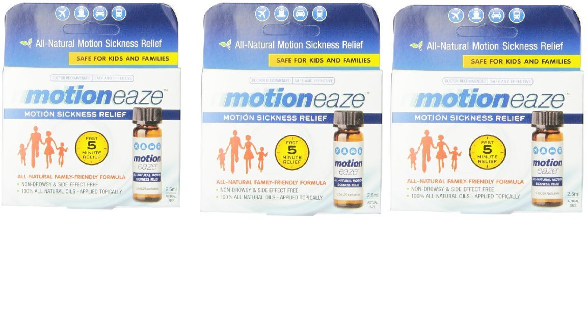 MotionEaze Sickness Relief, All-Natural Topical Liquid, 2.5 ml (Pack of 3)