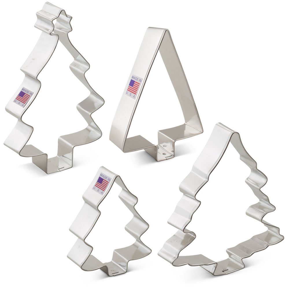Christmas / Holiday Tree Cookie Cutter Set - 4 Piece - Ann Clark Cookie Cutters - US Tin Plated Steel