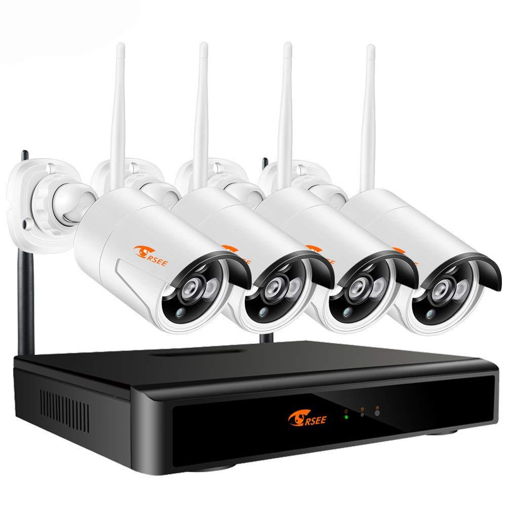 Corsee Sistema de cámara IP de videovigilancia de 4 piezas ...
