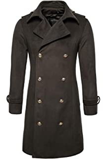 chouyatou Mens Basic Thermal Double Breasted Belted Mid Long Wool Pea Coat