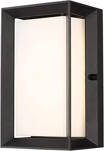 Emliviar LED Outdoor Wall Sconce, Wall Light for House, 12W LED 900 Lumens, 3000K Warm White, Black Finish, 60025