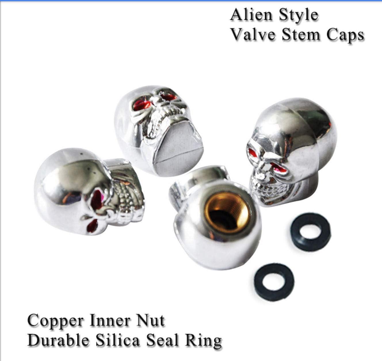 Silver Skull Alien Silver Skull Alien Car Wheel Tire Tyre Valve Dust Caps Covers Tire Set of 4