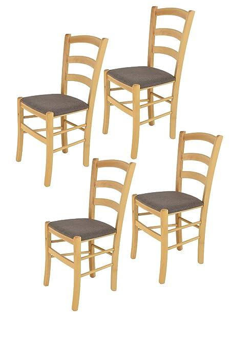 Comedor Estructura en Madera de Haya Color anilina Gris Claro y Asiento tapizado en Tejido Color Gamuza Bar y Restaurante Set 4 Sillas Modelo Venice para Cocina Tommychairs sillas de Design