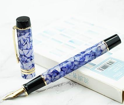 Moonman M600S Pluma estilográfica extra fina, color azul hielo, celuloide, bolígrafo de escritura con estuche para bolígrafos: Amazon.es: Oficina y papelería