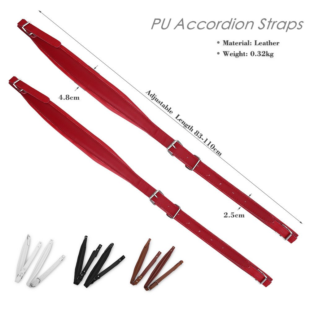 Adjustable PU Leather Accordion Shoulder Straps Set Comfortable Accordion Belt Set Soft Wear-resistant Accordion straps for 16-120 Bass Accordions (White) by Vbestlife (Image #4)